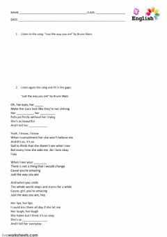 Interactive worksheet learn with songs