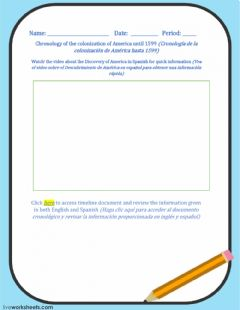 Interactive worksheet TIMELINE - Chronology of the colonization of America-1