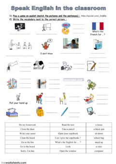 Interactive worksheet CLASSROOM ENGLISH