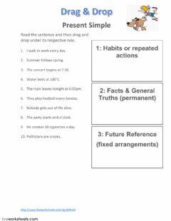 Present Simple Rules worksheet preview