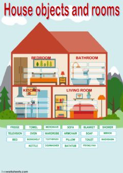 Interactive worksheet House objects and rooms