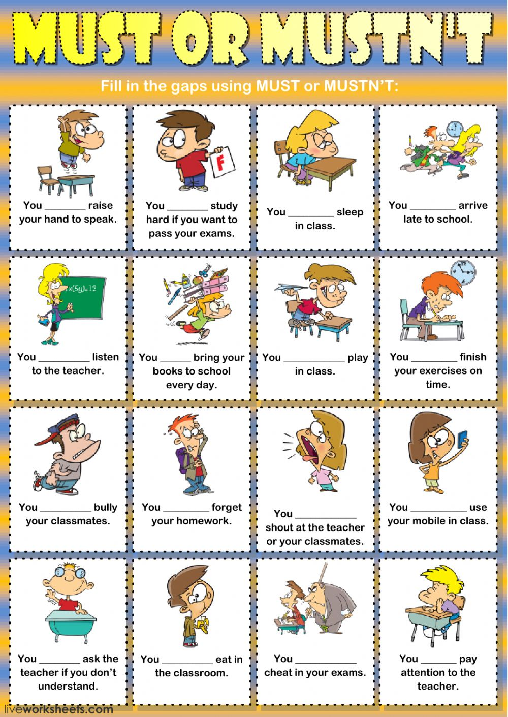 Worksheets Classroom Rules Worksheet must or mustnt classroom rules interactive worksheet must