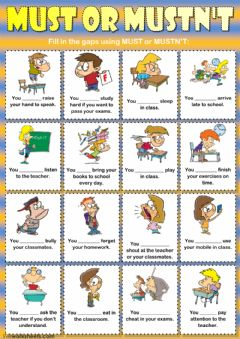 Must or mustn't (classroom rules) worksheet preview