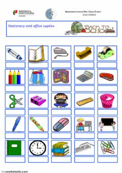 Interactive worksheet Stationery and school suplies