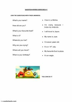 Interactive worksheet Question words group 1