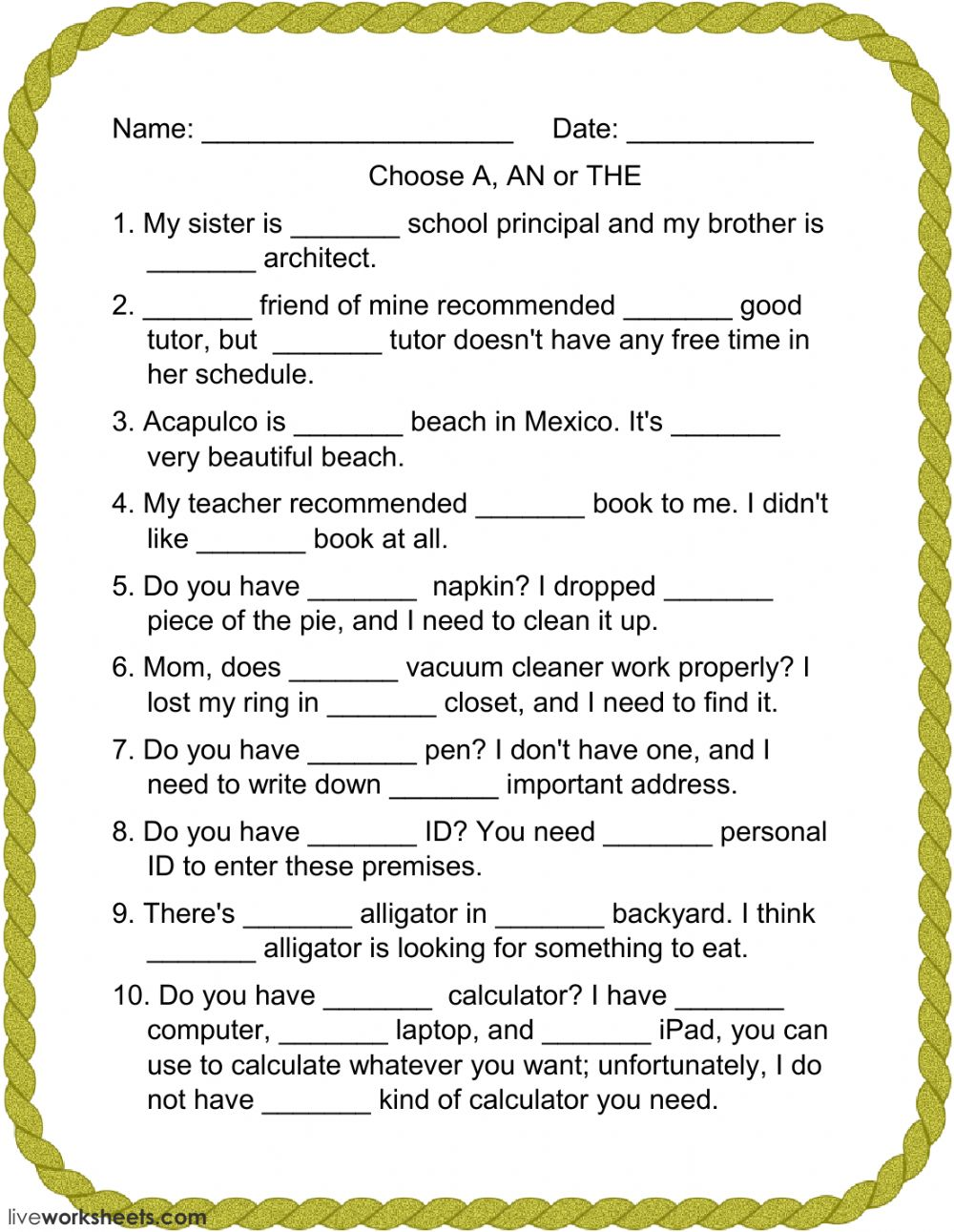 choose a an or the interactive worksheet
