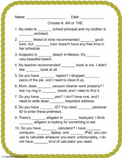 Interactive worksheet CHOOSE A, AN or THE