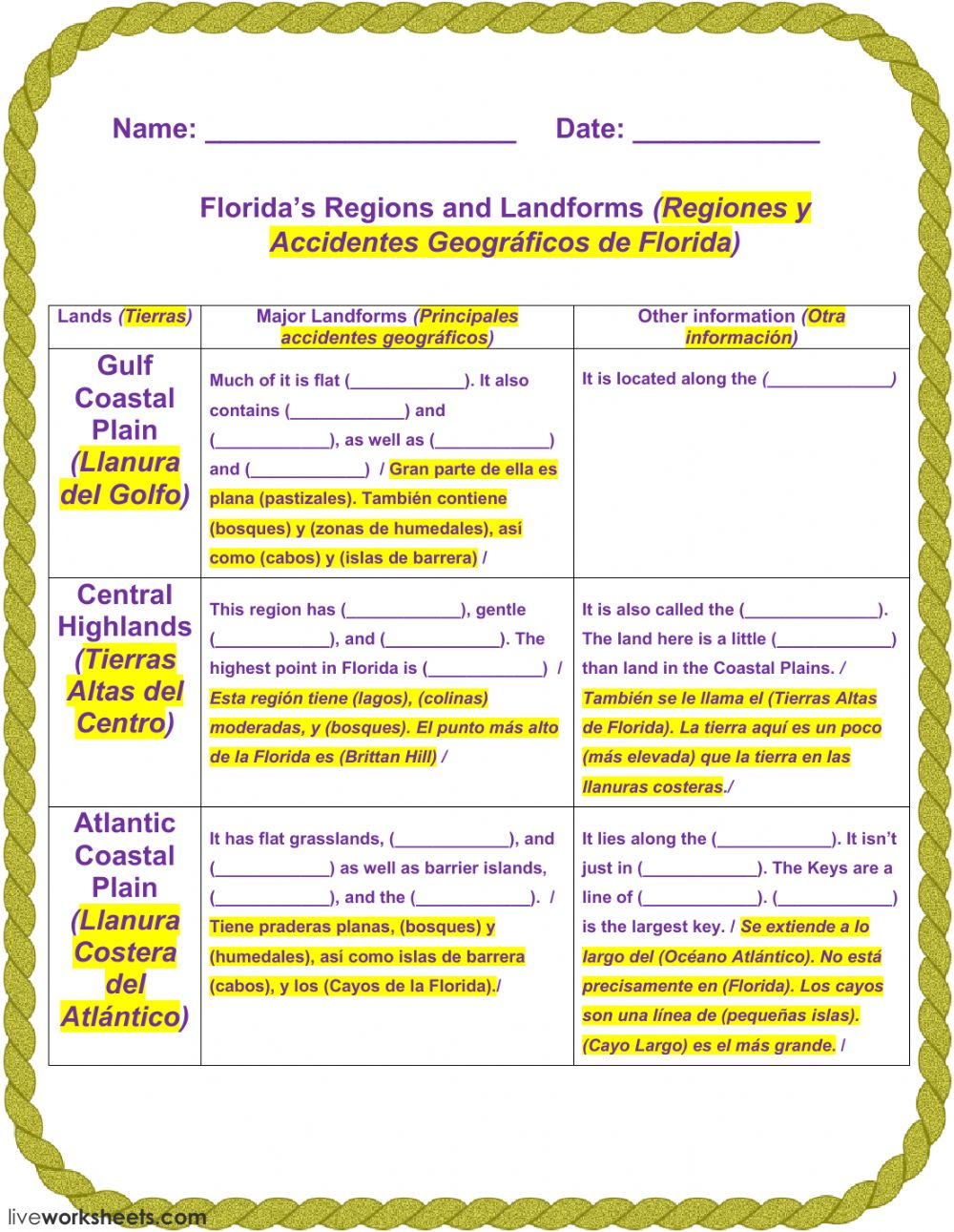 Worksheets Worksheets On Landforms floridas regions and landforms 1 interactive worksheet barrier islands