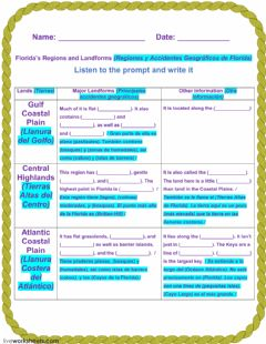Ficha interactiva Florida's Regions and Landforms -1A