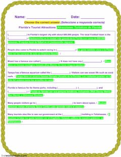 Interactive worksheet Florida's Tourist Attractions - 1