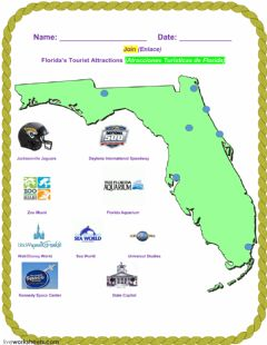 Ficha interactiva Florida's Tourist Attractions - 1B