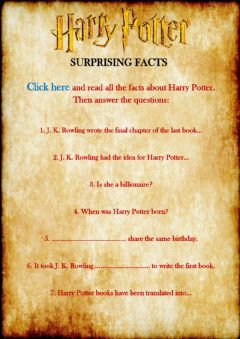 Harry Potter surprising facts worksheet preview