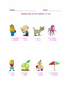 Interactive worksheet Indefinite Article-1