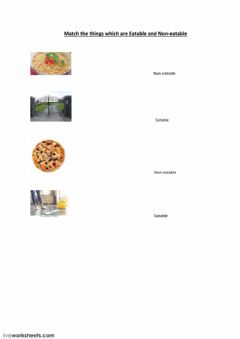 Interactive worksheet Eatable and non-eatable items 1