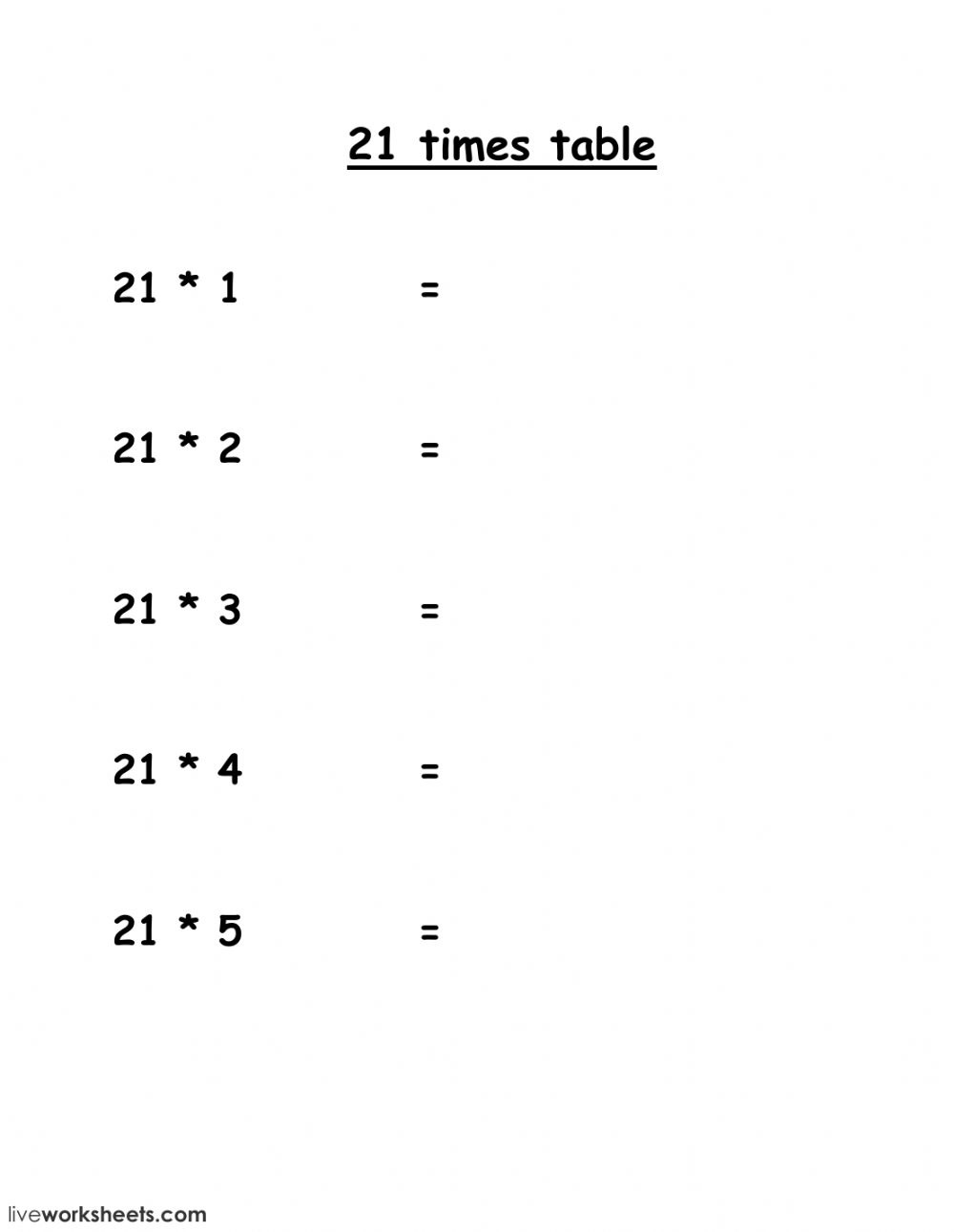 21 Times Table Interactive Worksheet