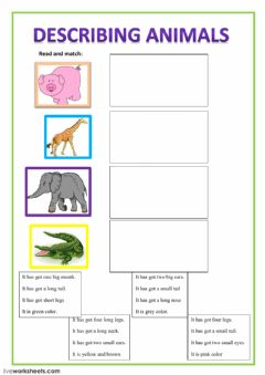 Interactive worksheet describing animals
