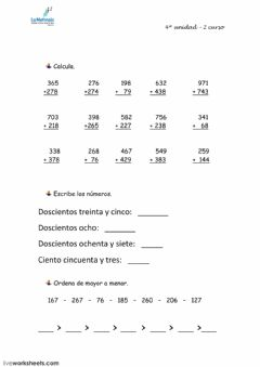 Interactive worksheet 3) Matematicas 2º