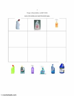Interactive worksheet Match Bottle Shapes: Not Food 1