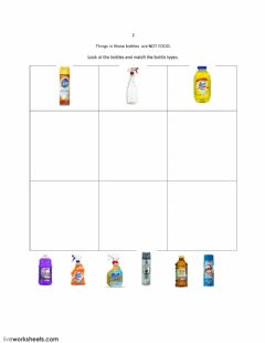 Interactive worksheet Match Bottle Shapes: Not Food 2