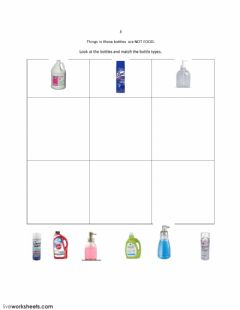 Interactive worksheet Match Bottle Shapes: Not Food 3