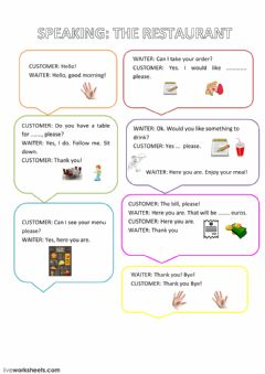Interactive worksheet speaking restaurant