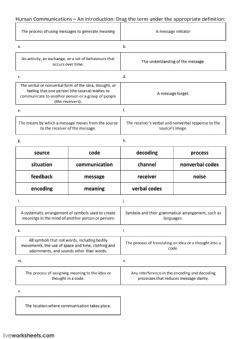 Interactive worksheet Intro to Human Communications - Vocabulary