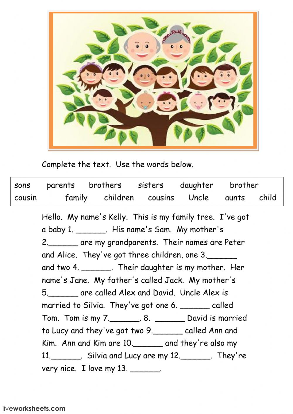 family tree the family exercise