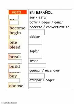 Interactive worksheet Verbs in English and Spanish