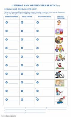 Interactive worksheet Listening and Writing Verb Practice 1