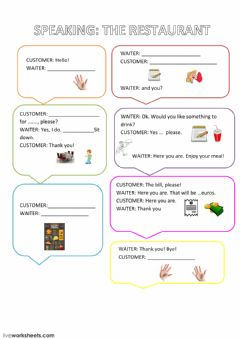 Interactive worksheet restaurant