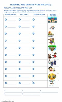 Interactive worksheet Listening and Writing Verb Practice 2
