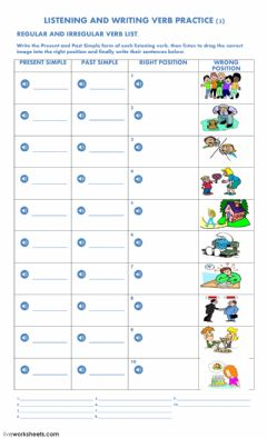 Interactive worksheet Listening and Writing Verb Practice 3