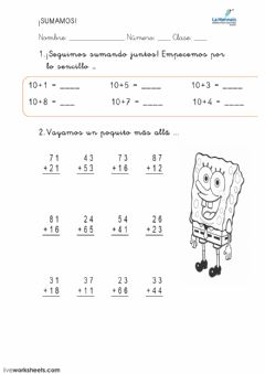 Interactive worksheet sumando