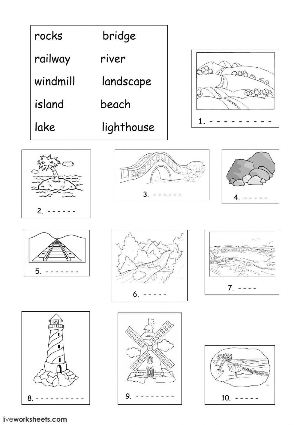 land features - Interactive worksheet