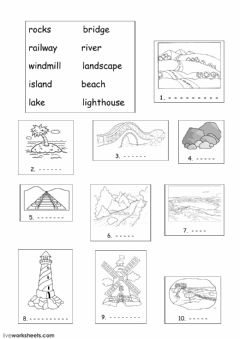 Interactive worksheet land features