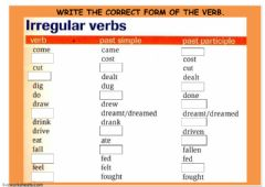 COMPLETE PET IRREGULAR PAST SIMPLE AND PAST PARTICIPLE VERB FORMS worksheet preview