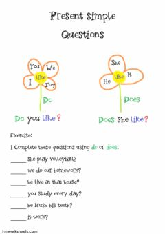 Present simple basic questions do-does worksheet preview
