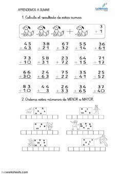 Interactive worksheet sumas de 2 cifras