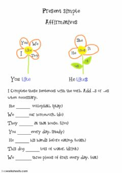 Present simple affirmatives worksheet preview
