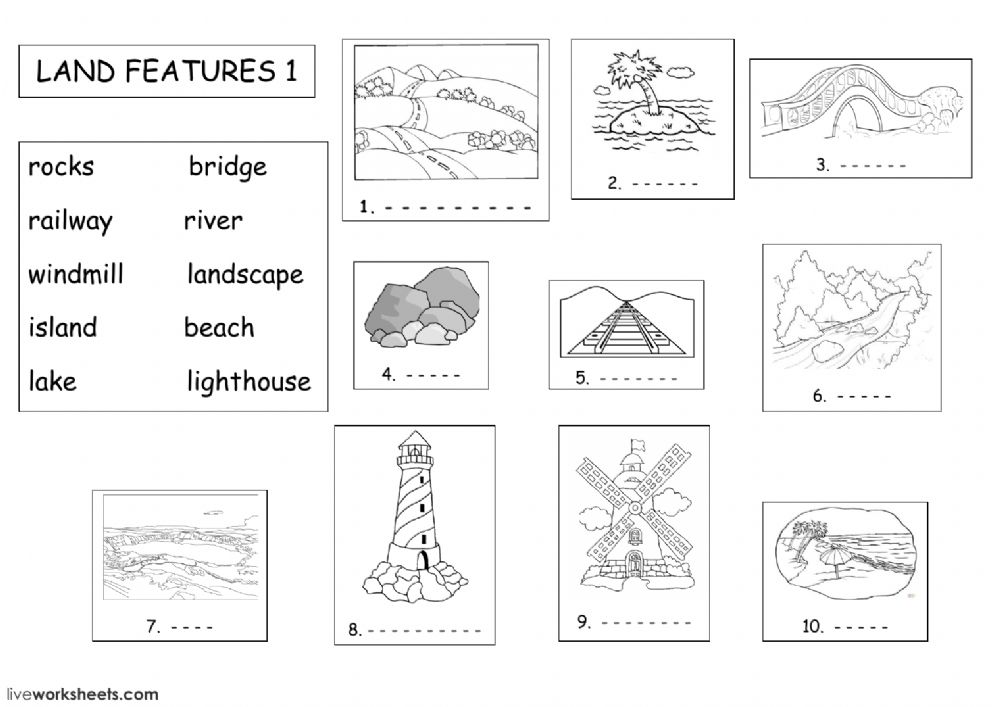 land features: Land forms worksheet