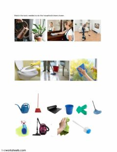 Interactive worksheet Household chore and tools match