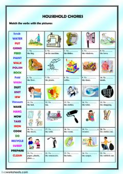Interactive worksheet Household chore match