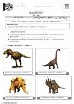 Interactive worksheet DINOSAURS TEST
