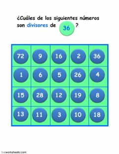 Interactive worksheet divisores de 36