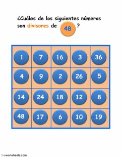 Interactive worksheet divisores de 48