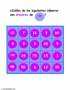 Interactive worksheet divisores de 150