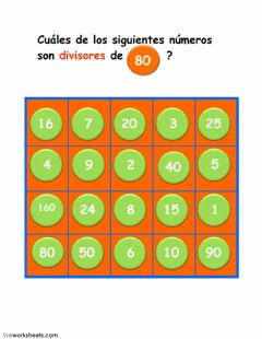 Interactive worksheet divisores de  80