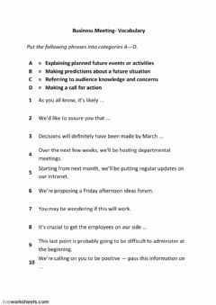 Interactive worksheet Business Meetings - phrases 2