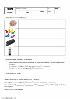 Interactive worksheet Craft materials
