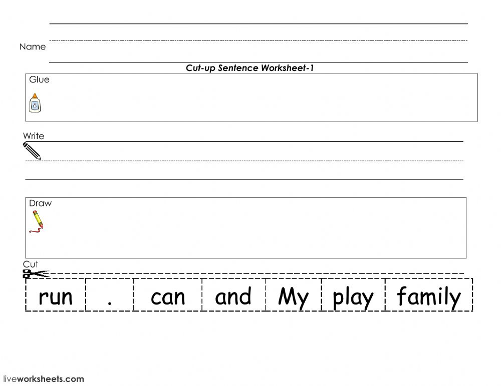 sentence cut and paste interactive worksheet. Black Bedroom Furniture Sets. Home Design Ideas
